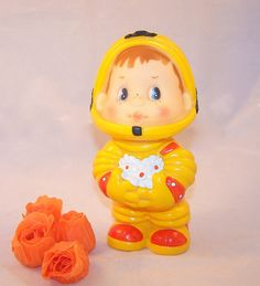 Vintage Soviet Toy Spaceman. Yellow Rubber Doll by RarityFromAfar, $17.49