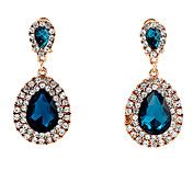 European (Water Drop) Gold Alloy With Blue Gem Drop Earrings