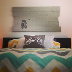 Reclaimed wood sign - grey washed and stenciled using a silhouette stencil.