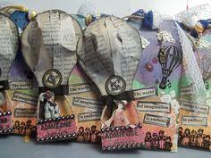 ♥Walkelmol♥ decorative gift tags hot air balloon mixed media art