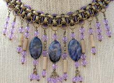 Bellflower Blues - Necklace of Sodalite Suede Opals and Crystals