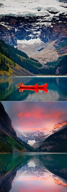 Float your cares away in a cheerful red canoe on Lake Louise #TravelAlberta