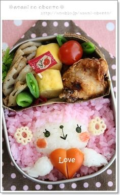 Happy Valentine Pink Sheep Kyaraben Bento Lunch by Asami