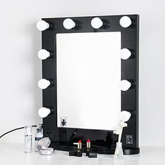 """Hollywood makeup Color : Black ;Base material: Aluminum ;Frame material: Aluminum Front on/off revolving dimmer switch ;Elegantly configuration Table best plan ; Frame estimate: 26.5""""(Height)x22.8"""" (Width) Package included: 1PC Hollywood cosmetics lit mirror 11PCS 110V LED knobs +Some screws  You can look here and buy."""
