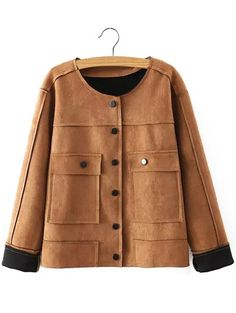 $23.00 Plus Size Chic Faux Suede Fabric Jacket For Women