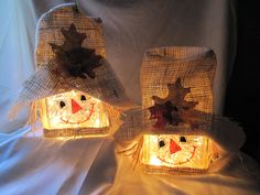 scarecrow lighted glass block - cute - no tut, expired ETSY item - inspiration only (love the way she made the burlap hats and applied the leaves - i wonder if you can use straw inside, or raffia? less glittery than tinsel but maybe more appropriate - have to see how it looks - pb≈