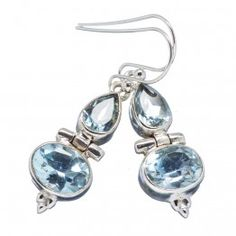925 SOLID STERLING FINE SILVER  BLUE TOPPAZ EARRING