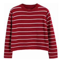 Chicnova Fashion Striped High Neck Crop Shirt (490 MXN) ❤ liked on Polyvore featuring tops, sweaters, shirts, long sleeves, red shirt, long red sweater, red sweater, longer sweater and striped shirt