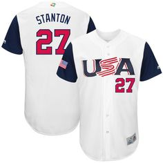 7dbd5811b5a Men s USA Baseball Giancarlo Stanton Majestic White 2017 World Baseball  Classic Authentic Jersey