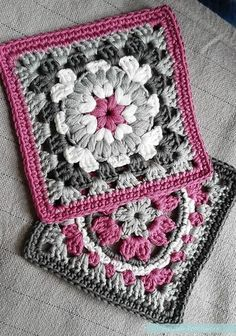 """Crochet meets Patchwork"" Afghan - Pink Granny Square Pattern Round-up - Pasta & Patchwork ༺✿ƬⱤღ https://www.pinterest.com/teretegui/✿༻"