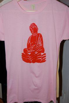 Women's Buddha Shirt  M Pink Ribbon by LotusRouge on Etsy, $28.00