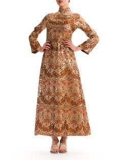 Stunning 1960s Vintage Gold and Ivory Patterned Jacquard Dress