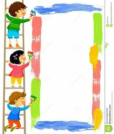Illustration of kids standing on a ladder and painting a colorful frame vector art, clipart and stock vectors. Art Clipart, Free Clipart Images, Borders For Paper, Borders And Frames, Clip Art, Painting For Kids, Art For Kids, Colorful Frames, School Frame