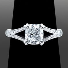 www.VanessaNicoleJewels.com - 1.51ct Cushion Cut Diamond with Split Shank - Custom Engagement Rings by Vanessa Nicole Jewels
