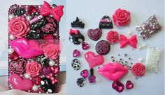 Sexy Cute Red Lip Rose Lolita DIY Deco Den Kits for Cell I Phone 4S 5 Case Set | eBay