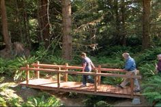 Learn how to laminate beams and assemble decking and rails for a woodland footbridge. This is a neat project and would be nice for decor in the front yard over the rockbed. Pond Bridge, Garden Bridge, Outside Living, Outdoor Living, Garden Structures, Outdoor Structures, Bridge Construction, Bridge Design, Outdoor Projects