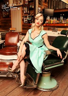 Pinup Couture Heidi Dress in Mint with black piping and belt