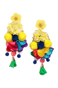 Check this out! Large metal earrings decorated with sequins, beads, fabric flowers, and pompoms. Length 5 1/2 in. - Visit hm.com to see more.