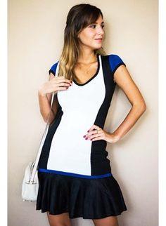 Vestido bandagem tricolor babado preto e azul
