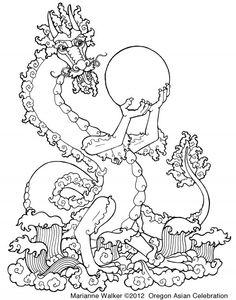 Marianne Walker - line art to download, final dragon poster Asian Celebration Eugene Oregon 2012