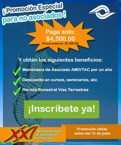 """Promoción especial para """"NO ASOCIADOS"""", inscribete antes del 15 de junio y obtén el descuento, con un sólo click en este enlace: www.amivtac.org"""
