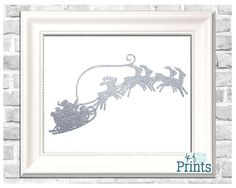 Looking for a merry Christmas print to add some classy festivity? This silver Santa Claus sleigh and reindeer Christmas print is a definite favorite of mine! Featuring a red, decorative Santa and reindeer silhouette, this fun and festive, glittering holiday decor is a decoration that you will love to display this Christmas!  -Technical Details- This file comes as a .jpg file. It is sized at 8x10.  -About Your Order- All of KFPrints products are digital prints for you to print on your own…