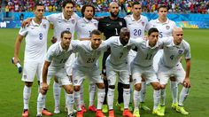 Players of the United States line up for the team photos prior to the 2014 FIFA World Cup Brazil Round of 16 match between Belgium and USA
