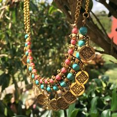Gold Plated Tribal Necklace Absolutely stunning bib necklace! Very bohemian/tribal look. Perfect for this spring and summer! Jewelry Necklaces