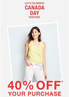 #GapCA: Gap Canada Day Promotion: Save 40% Off Your Purchase With Promo Code http://www.lavahotdeals.com/ca/cheap/gap-canada-day-promotion-save-40-purchase-promo/102472