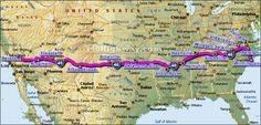 Interstate 40 from Raleigh to Flagstaff, Arizona