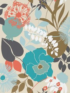 Doyenne Sky / Olive / Coral wallpaper by Harlequin