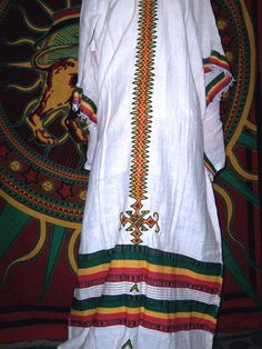 Ethiopian Bunna Dress and Shawl in Rasta Colors by CrucialCulture, $77.77
