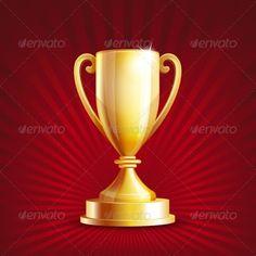Golden trophy cup. Vector illustration