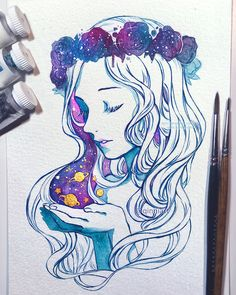 with some galaxy flower crowns, yay I dunno. haha. Done a while ago. I was trying to get my hand to stop shaking after the surgery so I wanted to practice for a bit.  Tools:Winsor & Newton...
