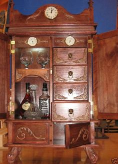 Antique English Carved Oak BARLEY TWIST LEATHER Liquor Wine Buffet ...