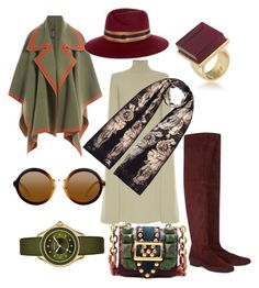 Autumn in the city by highills on Polyvore featuring polyvore, fashion, style, Valentino, Burberry, Robert Clergerie, Michele, Trina Turk, Maison Michel, Louise Coleman and clothing