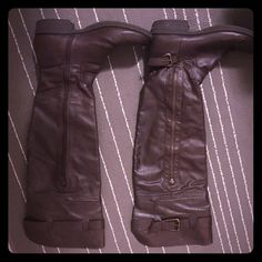 Over the knee boots Super cute American Rag over the knee boots. Cheetah detail on the inside. Worn twice. Great condition. Not rainy enough here in SoCal to use anymore. Size 6.5 American Rag Shoes Over the Knee Boots