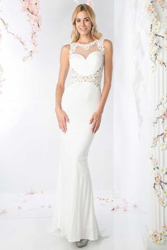 Formal Dress CDCD485. Floor Length Mermaid Silhouette Formal and Evening Gown with Illusion Sweetheart Bodice with Corded Applique Overlay, Open V Back with Invisible Zipper Closure, Sheer Midriff with the same Corded Applique. Skirt with Train.