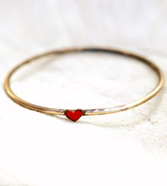 Little Heart Brass Bangle | Jewelry Bracelets | Bullfinch & Barbury Enamelists | Scoutmob Shoppe | Product Detail