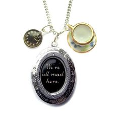 We're All Mad Here Victorian Alice in Wonderland Cheshire Cat Watch and Tea Cup Locket Charm Necklace from Hoolala