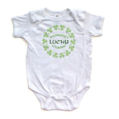 Amazon.com: Mommy's Lucky Charm - St. Patrick's Day - White or Yellow Short Sleeve Baby Bodysuit: Clothing