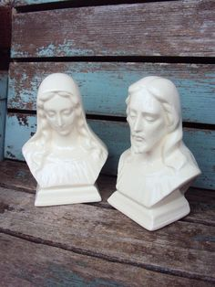 Vintage Mother Mary and Jesus Statues Bust by primitivepincushion, $23.99