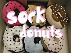 sock donuts; look here too http://www.flickr.com/photos/pink_lemo_nade/6560393407/in/set-72157623369593837/