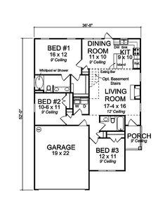 Cozy and comfy house plan. The perfect starter home. Plan#178-1360