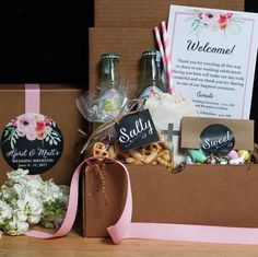 A stylish way to welcome your guests. See more here: http://confettigiftcompany.com/collections/wedding-welcome-boxes