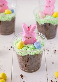 Bunny Dirt Cups - pudding, crushed oreos, dyed coconut and a Peep