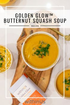This easy-to-make soup is full of antioxidants and anti-inflammatory nutrients and is easy to whip up a batch when you feel your body needs a boost! Fresh Garlic, Fresh Ginger, Squash Puree, Toasted Pumpkin Seeds, Roasted Butternut Squash, Vegetable Stock, Stuffed Peppers, Health, Ethnic Recipes