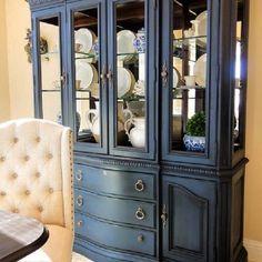 Annie Sloan napoleonic blue with dark wax china cabinet. Blue China Cabinet, Antique China Cabinets, Painted China Cabinets, Painting Kitchen Cabinets, Refinished China Cabinet, Dark Cabinets, Repurposed China Cabinet, China Cabinet Display, Buffet Cabinet