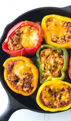 This yummy ground turkey stuffed peppers recipe is perfect for an easy weeknight dinner. There are so many ways to mix it up using your fave ingredients!
