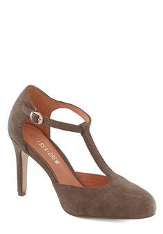Skip, Jump, and Lindy Hop Heel in Taupe. These grey-brown heels by Chelsea Crew tip-tap on the dance floor as you show off your enviable moves at this months social. #tan #modcloth